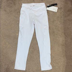 White capri length leggings